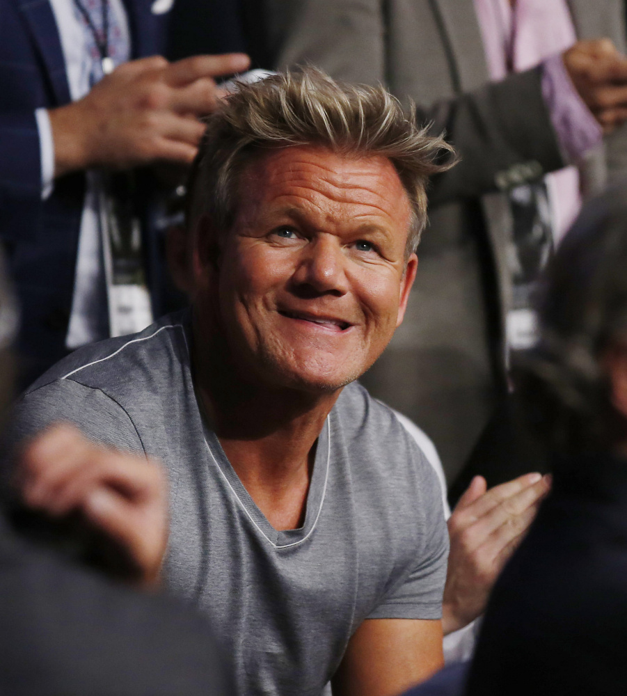 Gordon Ramsey attends Conor McGregor and Nate Diaz's welterweight mixed martial arts bout at UFC 202 on Aug. 20, 2016, in Las Vegas.