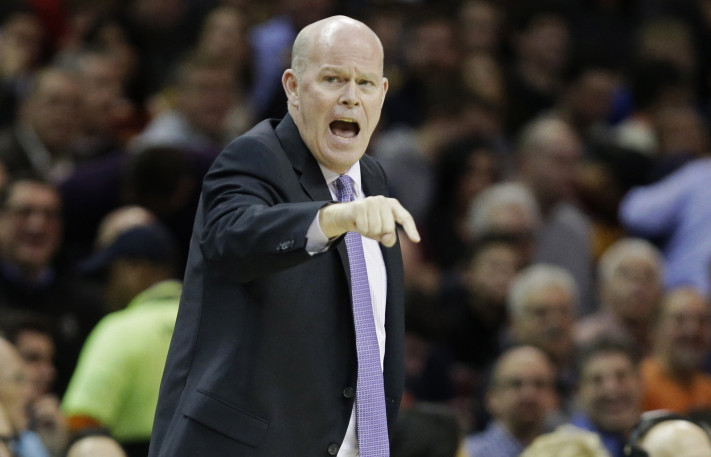 Charlotte Hornets head coach Steve Clifford shouts out instructions during an Dec. 15, 2014 game against the Cavaliers in Cleveland.