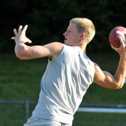 Wintrop/Monmouth quarterback Matt Ingram winds up to pass during a seven-on-seven tournament game earlier this summer at Leavitt High School in Turner. Ingram and the Ramblers are 2-0 and will host Dirigo on Friday night.