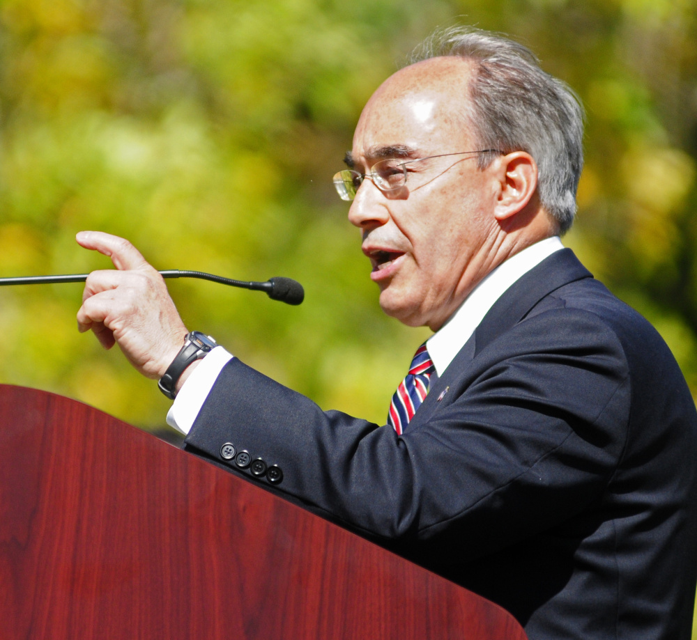Congressman Bruce Poliquin gives a speech during 150th celebration on Saturday at VA Maine Health Care System Togus.