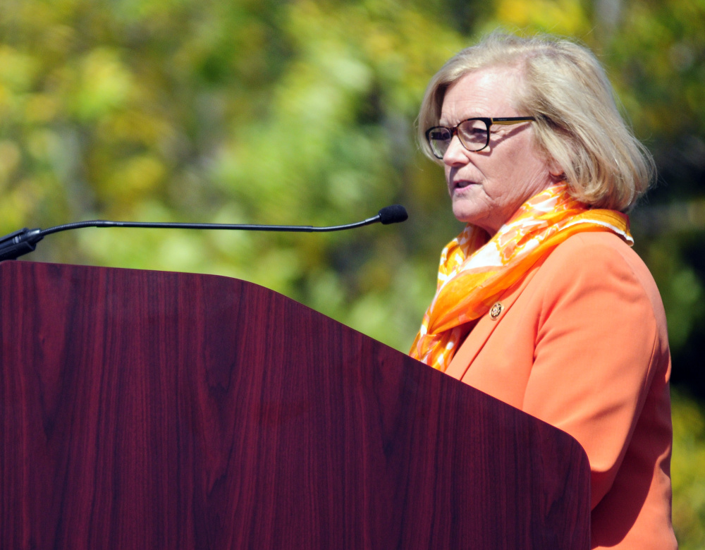 Congresswoman Shelly Pingree gives a speech during 150th clebration on Saturday at VA Maine Health Care System Togus.