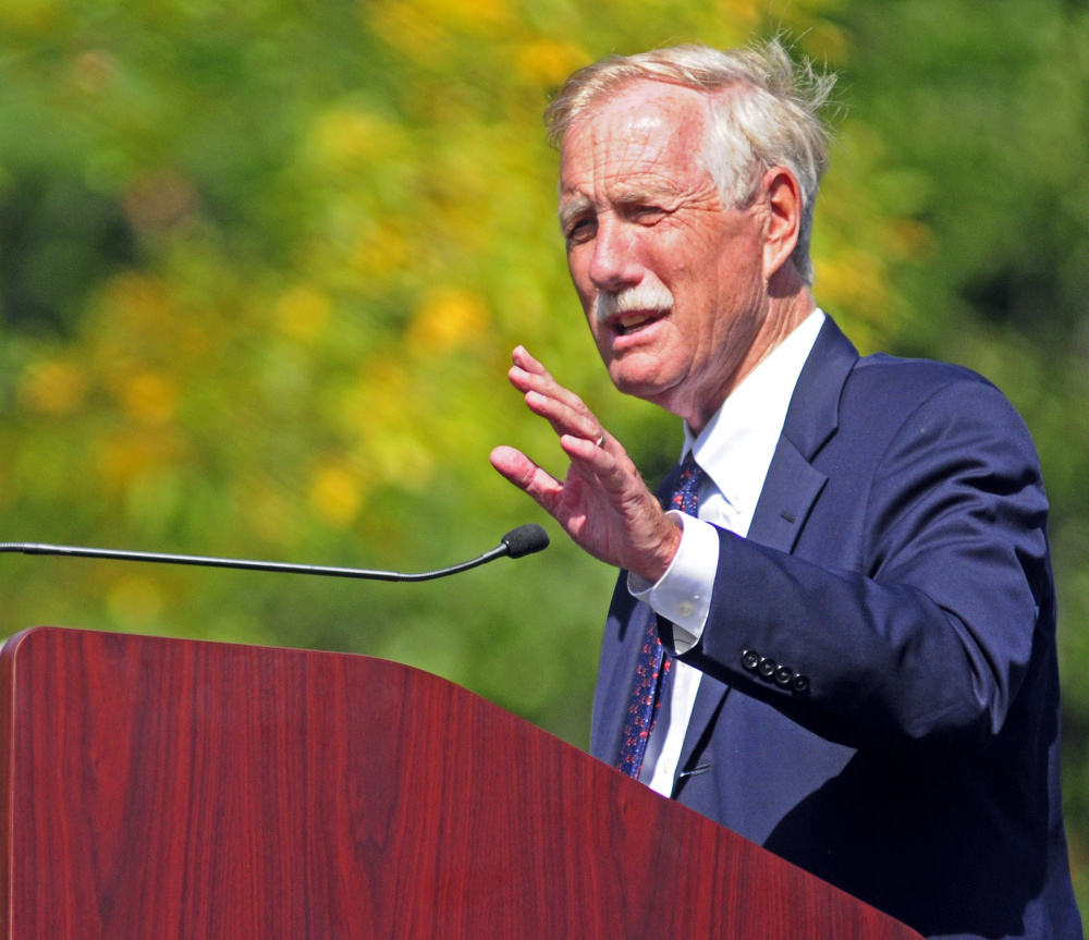 Sen. Angus King gives a speech during 150th celebration on Saturday at VA Maine Health Care System Togus.