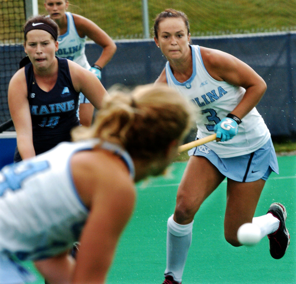 North Carolina's Kristy Bernatchez, right, goes after the ball against the University of Maine on Sunday in Orono.