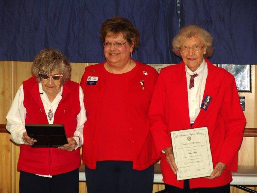 The American Legion Auxiliary, Unit 39 in Madison honored their eldest members prior to its Sept. 12 meeting. From left are Alta Vicniere, Robin Turek, president; and Arlene Hoyt.