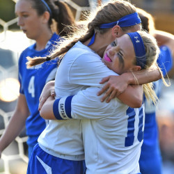 Madison Area Memorial High School's Madeline Wood (10) celebrates the only goal scored by teammate Sydney LeBlanc , left, against Oak Hill High School in Madison on Thursday. Madison defeated Oak Hill 1-0.