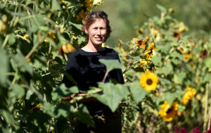 Jennifer Irving stands among the field 47 Daisies Farm in Vassalboro on Sept. 16. Irving will be stepping down after more than a decade as the executive director of Sebasticook Regional Land Trust.