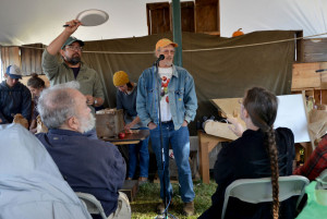John Bunker speaks during an apple tasting event at the Common Ground Country Fair in Unity on Saturday. Bunker writes the Fedco Tree catalog and is an expert in apple identification.
