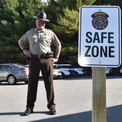 "Franklin County Sheriff Scott Nichols stands in a newly established ""safe zone"" at the sheriff's office in Farmington on Thursday."