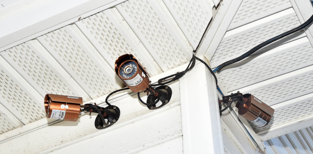 """Security cameras point at the Franklin County Sheriff Department's newly established """"safe zone."""""""