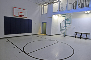 This Wednesday photo shows the indoor recreation area in the Kennebec County Correctional Facility in Augusta. There are plans to convert the area into a housing pod.