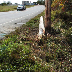 Traffic on U.S. Route 201 in Winslow passes a broken utility pole that a vehicle struck Tuesday morning, cutting power to hundreds. Witnesses say a female driver fled the crash scene on foot.