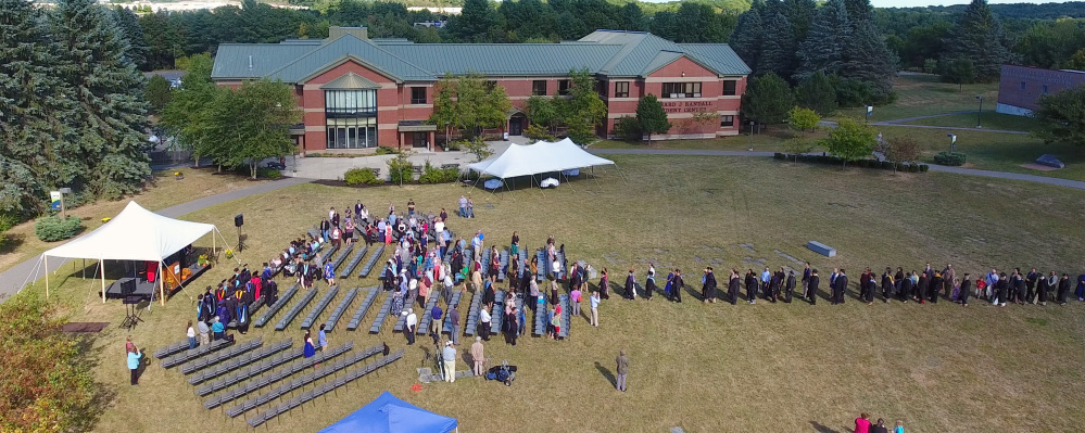 An unmanned aerial vehicle provided this view Sept. 16 during a University of Maine at Augusta convocation on the UMA campus in Augusta.