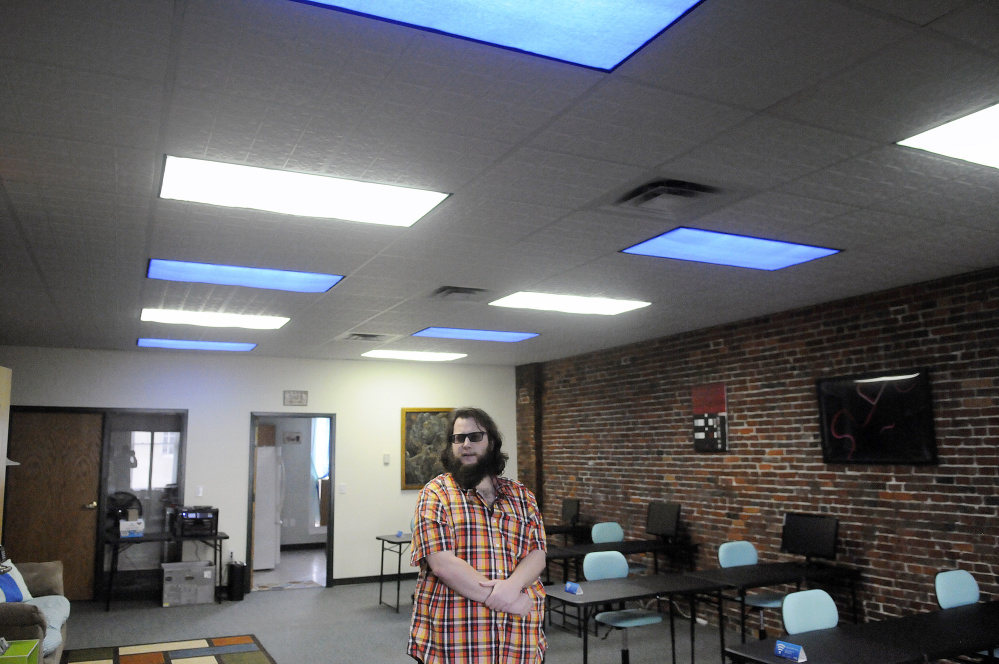 Brad-Lee Nichols shows off the second floor of 345 Water St. in Gardiner, where he has opened a co-working space.