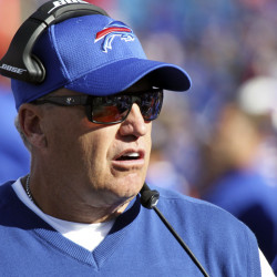 Buffalo Bills head coach Rex Ryan works on the sideline during the second half against the Arizona Cardinals last Sunday in Orchard Park, New York.