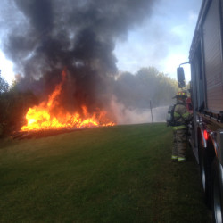 A fire destroyed a building off Route 150 in Cornville Thursday afternoon.