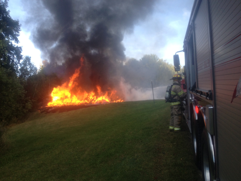 A fire destroyed this garage Thursday afternoon off Route 150 in Cornville.