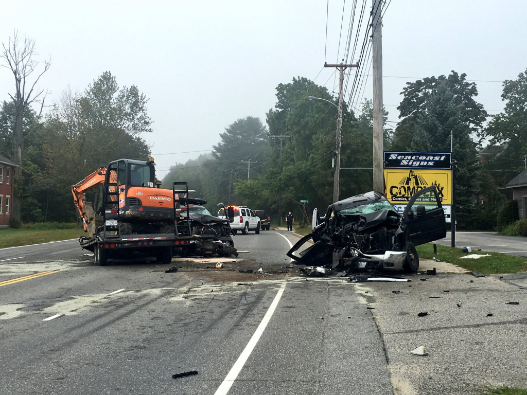 Wrecked cars lie at the scene of a crash on Route 1 in Scarborough on Wednesday morning. WCSH-TV/Kelsey Fabian