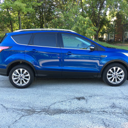 The 2017 Ford Escape in Titanium trim and Lightning Blue coat starts at $29,100.