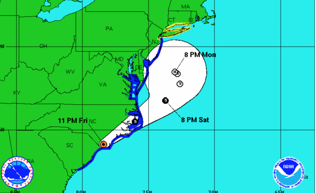This National Weather Service map shows the projected track of Hermine as of 11 p.m. Friday.