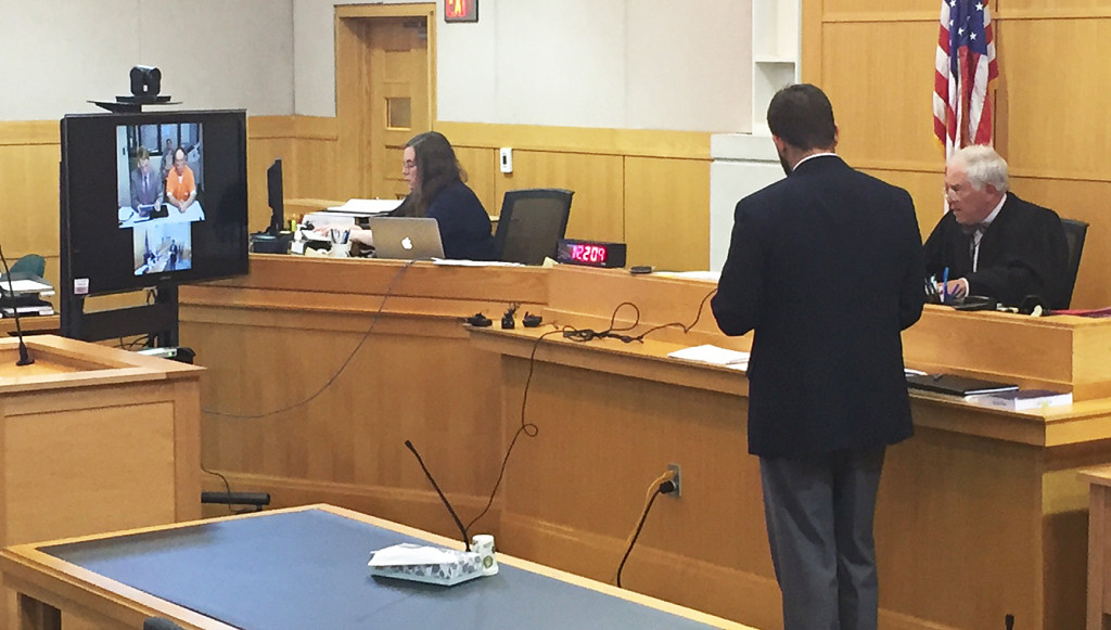 Henry Eichman makes a first appearance via video linkup in West Bath District Court on Monday. <em>Photo by Matt Byrne/Staff Writer</em>