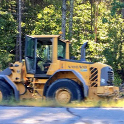 Matthew Fortin and Shawn Demarest, both 14, are accused of stealing this front-end loader in West Gardiner on Sept. 12.  and leading police on a low-speed chase. Photo courtesy of WCSH