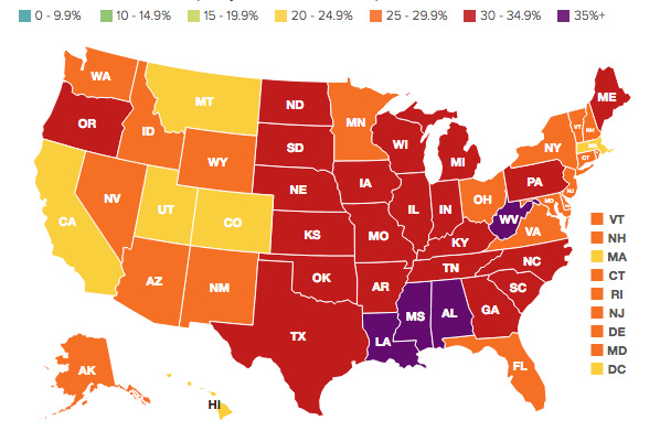 Map courtesy of Trust for America's Health and the Robert Wood Johnson Foundation.