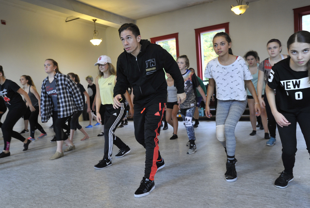 "Choreographer Jon Rua leads a dance class at the Dance Studio of Maine in Gorham on Saturday. Until he left ""Hamilton"" in June, he was the understudy for the lead role."