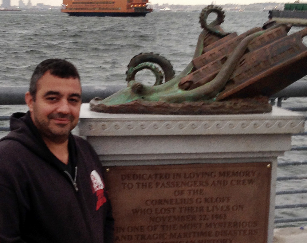 """Joseph Reginella injected a little humor into his cast bronze work,  dedicated to the memory of the """"victims"""" of the steam ferry Cornelius G. Kolff."""