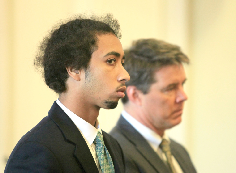 Timothy Ortiz of Brooklyn, N.Y., makes his initial appearance at York County Superior Court in Alfred on Monday, with attorney Jon Gale. Ortiz is charged with murder in the shooting death of Jonathan Methot in Biddeford.