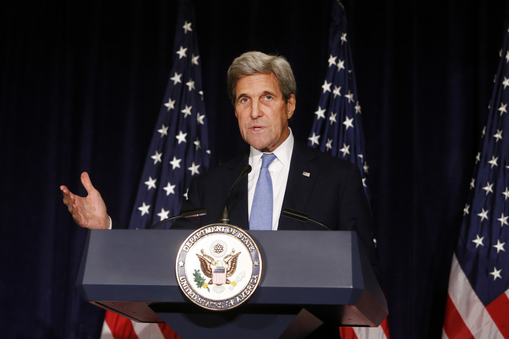 Secretary of State John Kerry, shown last month in New York, had threatened Russia last week after new Russian and Syrian attacks on the city of Aleppo, Syria.