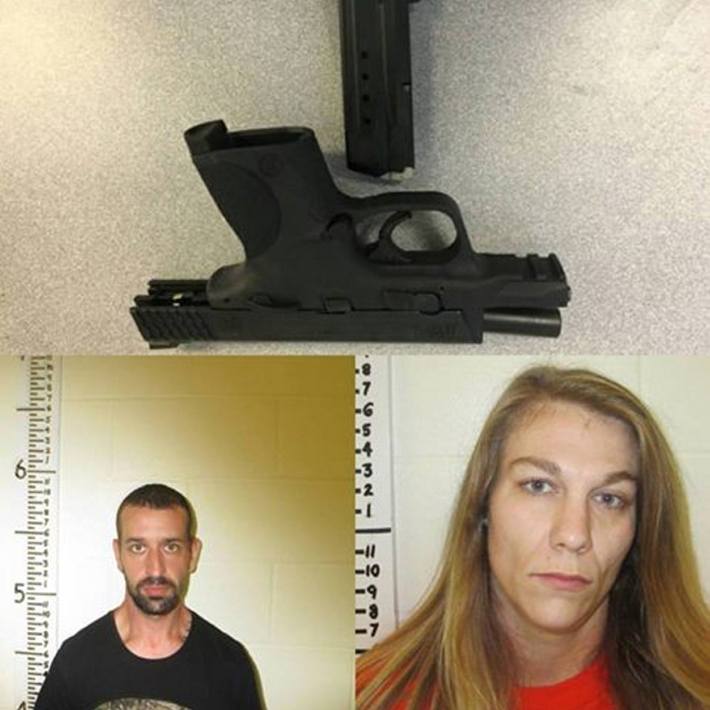 The stolen pistol (top) with mug shots of Todd Cushman and Kayla Keith.