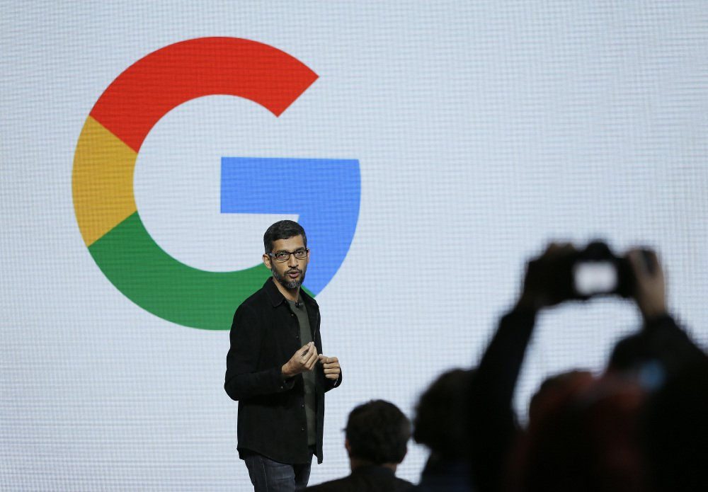 """CEO Sundar Pichai speaks Tuesday during Google's unveiling of a line of smartphones and other devices, including a voice-command helper called """"Google Assistant"""" that Pichai described as """"a personal Google for ... every user."""""""