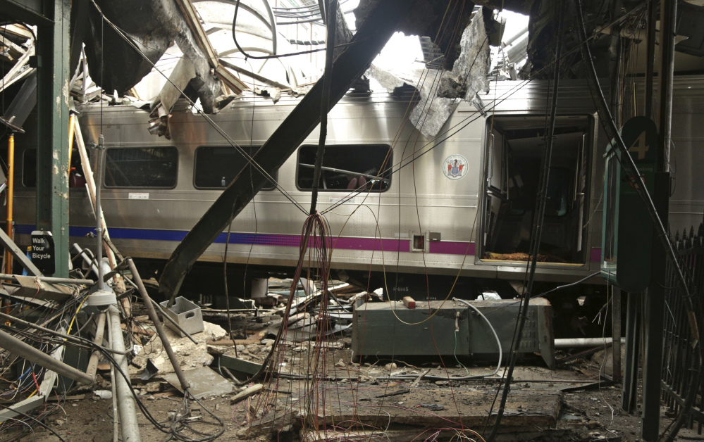 Federal investigators estimate that this commuter train was traveling two to three times the 10 mph speed limit when it crashed into Hoboken Terminal in New Jersey on Thursday.