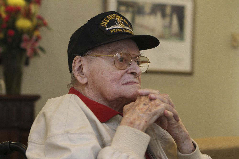 Raymond Haerry is photographed at West View Nursing & Rehabilitation in West Warwick, R.I., on April 20. Haerry, one of the last living crew members on the USS Arizona during the Japanese attack on Pearl Harbor, died Sept. 27 in Rhode Island.