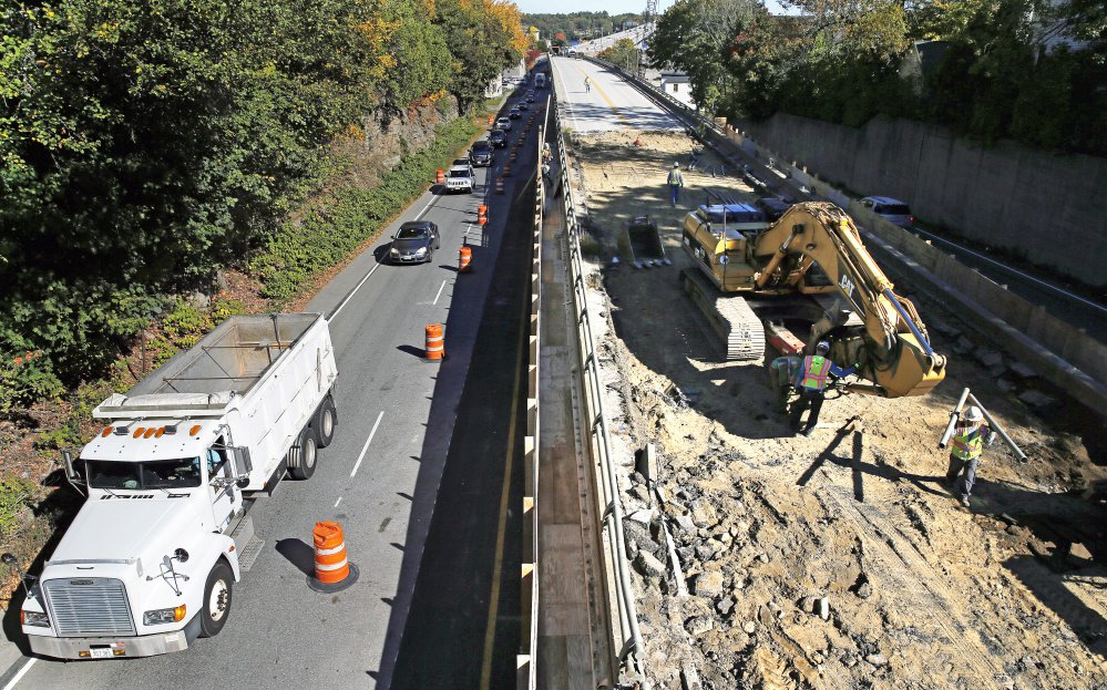 A section of Route 1 in Bath, known as the viaduct, is closed for construction with all traffic being diverted through the city center.