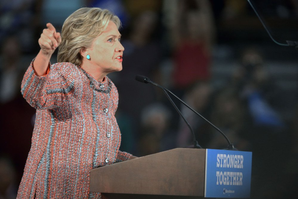 Democratic presidential candidate Hillary Clinton speaks at a rally at Miami Dade College in Miami, Tuesday, Oct. 11, 2016. (Mike Stocker/South Florida Sun-Sentinel via AP)
