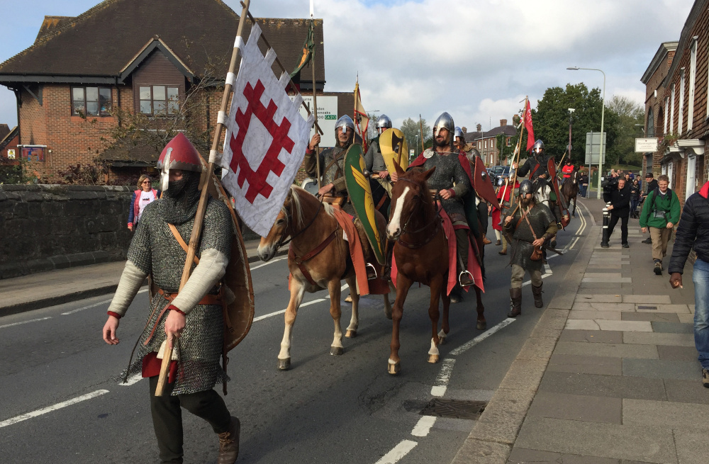 Costumed history buffs arrive near Hastings, England, on Friday, ending their 300-mile cross-country journey ready to re-enact the Battle of Hastings, which was originally fought in 1066.