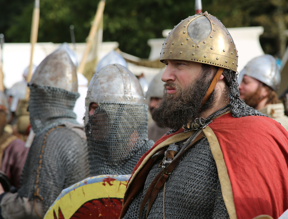 People prepare to re-enact the ancient clash between King Harold and William the Conqueror on Saturday on the 950th anniversary of the Battle of Hastings.