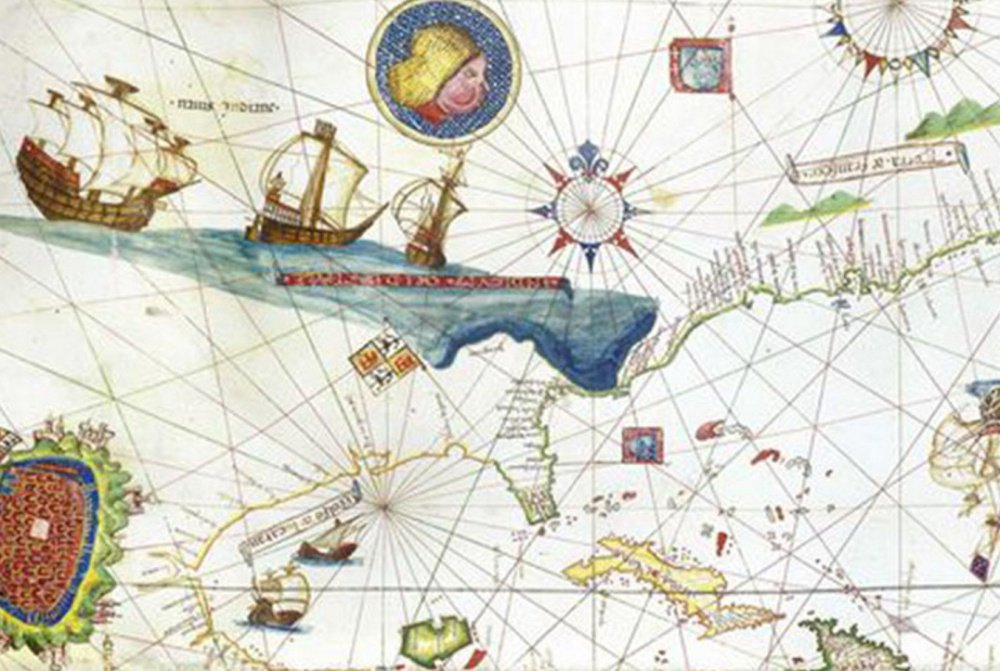 """Genoese cartographer Vesconte Maggiolo's 1531 depiction of the Eastern Seaboard, along with the mythical Sea of Verrazano,"""" could have gotten many a mariner lost."""