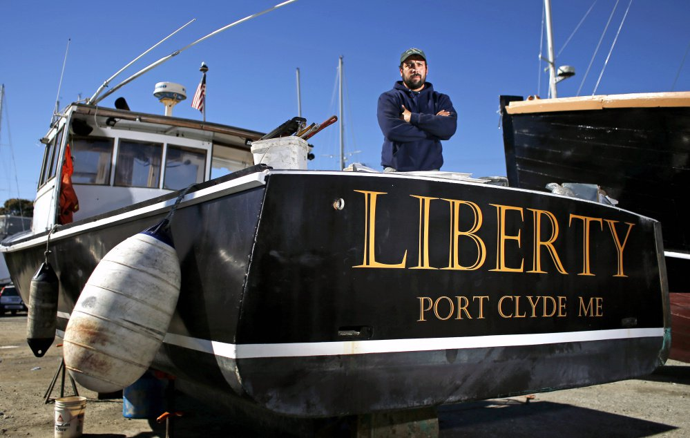 """Tony Hooper's lobster boat, parked here at Knight Marine Service in Rockland, has been intentionally sunk three times by someone """"who didn't like it when I called him out for messing with my traps."""" Authorities are investigating and offering a $2,000 reward for information."""