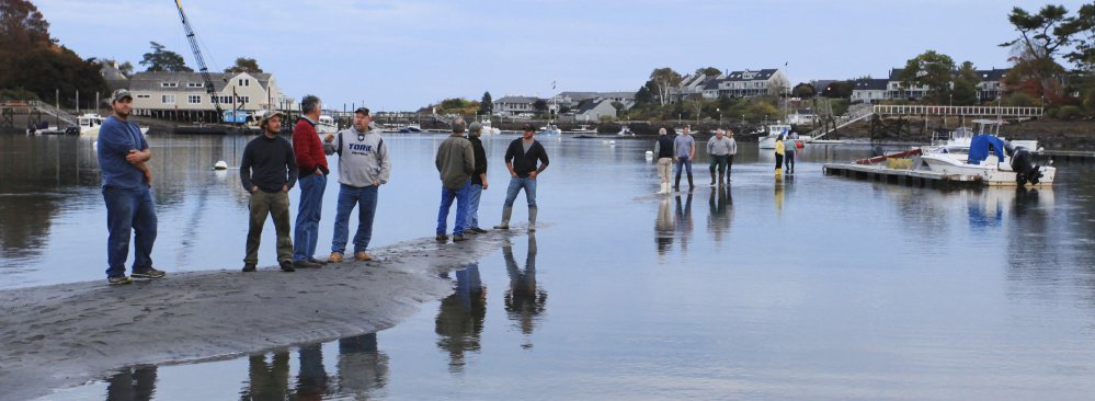 Standing on mounds of sediment in one of York Harbor's basins, people call attention to the need for federal funding to remove the buildup that threatens fishing and recreational boating.