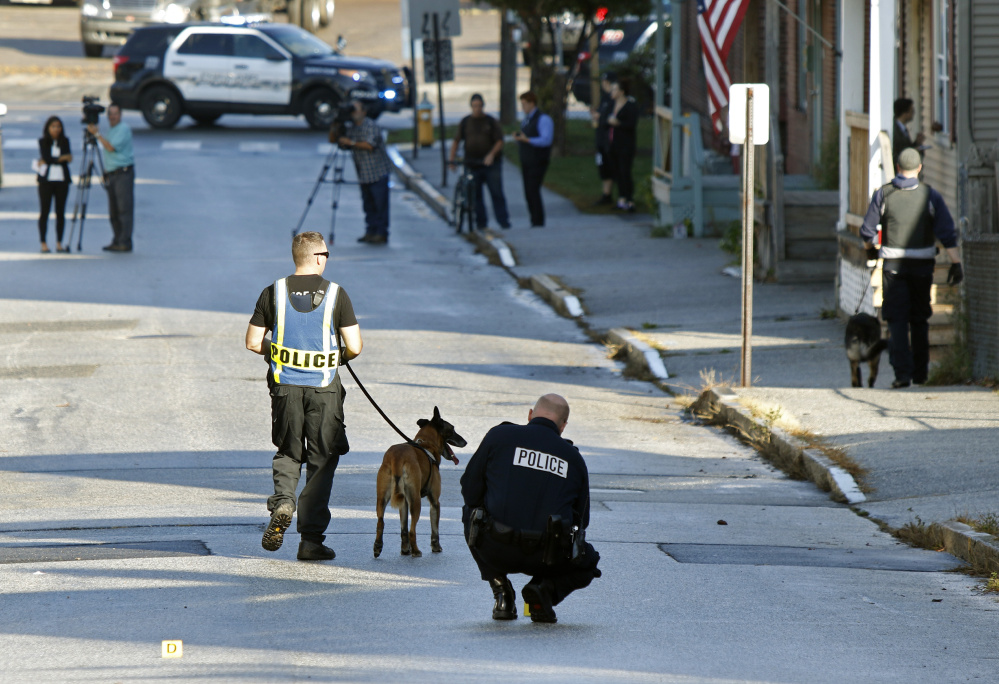 Investigators brought in police dogs, using them to search an apartment building at 109 Gilman St., but no one was arrested.