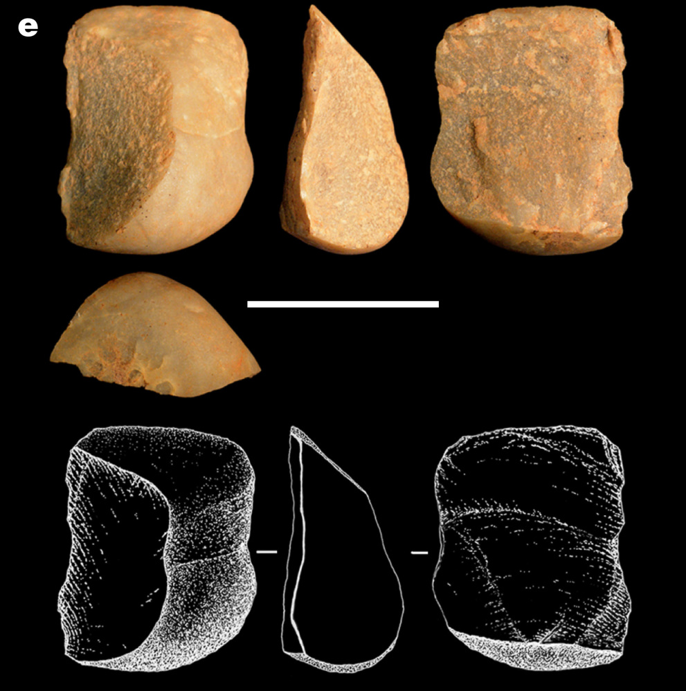 At left, an image made available by the journal Nature shows flaked stones made by wild capuchin monkeys in Brazil. Scale bar is 2 inches.