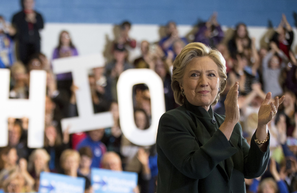 Democratic presidential candidate Hillary Clinton speaks at Cuyahoga Community College in Cleveland on Friday.