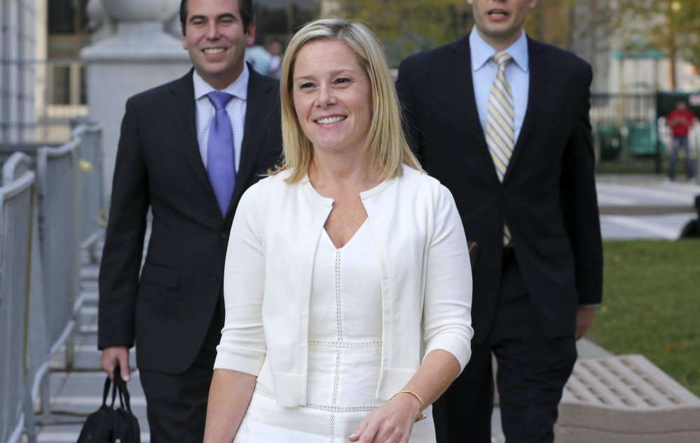 Bridget Anne Kelly, a former aide to Gov. Chris Christie, leaves a Newark, N.J., courthouse Thursday. Federal prosecutors say she sent the email that started the bridge-gate scandal.
