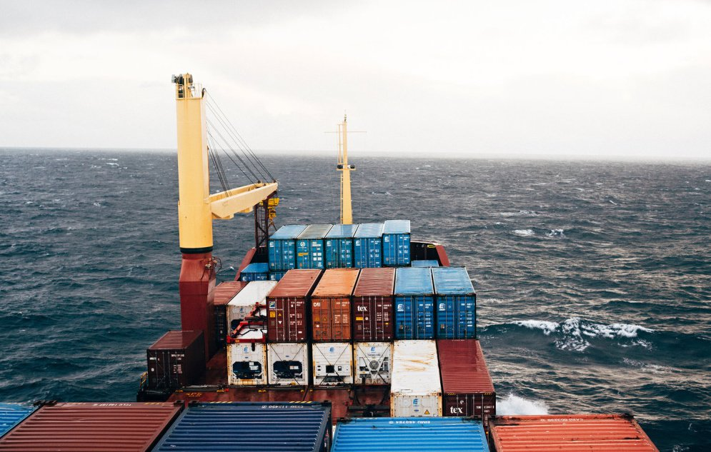 Photographer Jordan Levesque traveled to Iceland on an Eimskip freighter as part of a program run by the company. Photos from Levesque's journey are on display in Congress Square – in a shipping container.