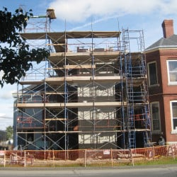 Skowhegan Free Public Library elevator tower is under construction. The library has announced a matching grant to go towards the completion of its elevator tower.