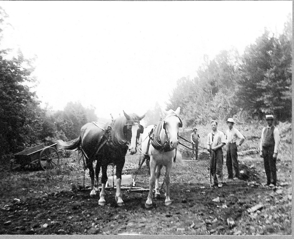 Taken September/October 1916 during the building of the 1.4-mile extension from Bearces Mill to Gray Farm on The SR&RL Railroad Madrid Branch. Leon Hinkley is driving the team of horses, Roadmaster Walter Toothaker is on the right. Today Gray Farm is known as Smalls Falls and the picnic area was the railroad's large pulp loading area.