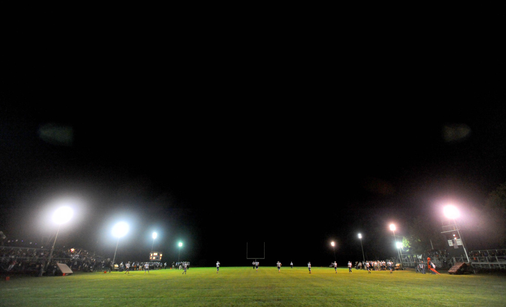 Lights illuminate Drummond Field at Waterville Senior High School on Sept. 26, 2015. The school brought in 12 portable light poles for a game against Oceanside. The Panthers will play under the lights this Friday night.