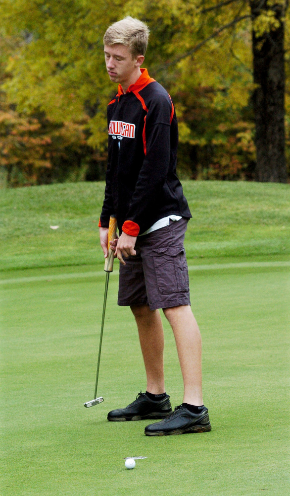Kyle Jacques of Skowhegan looks less than thrilled as his ball narrowly misses the hole during the Kennebec Valley Athletic Conference qualifier Tuesday at Natanis Golf Course in Vassalboro.
